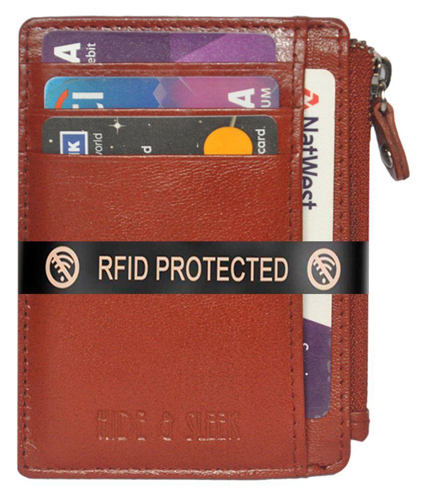 Hide&Sleek RFID Protected Slim Geniune Leather Credit Card Holder