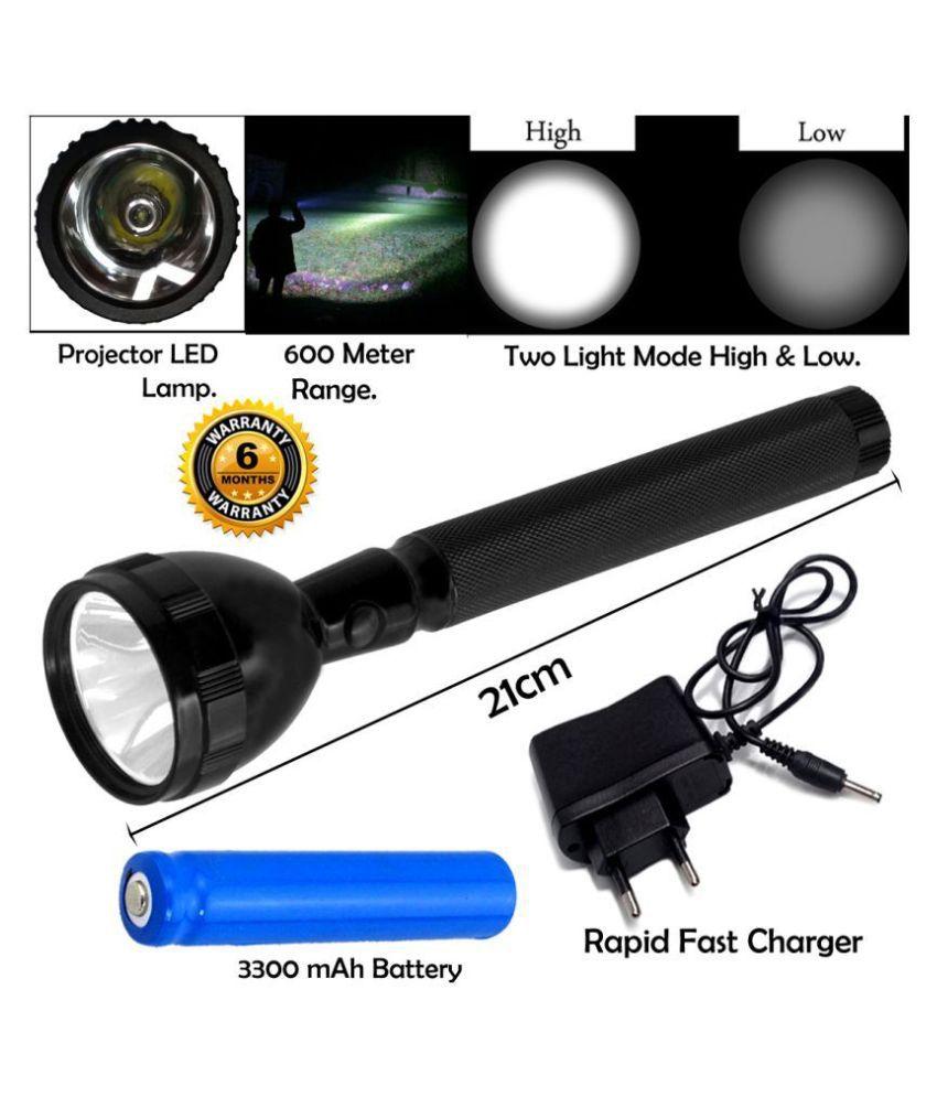 GH Waterproof 600 Meter Range Long Beam 20W Emergency Light Emergency Light Black - Pack of 1