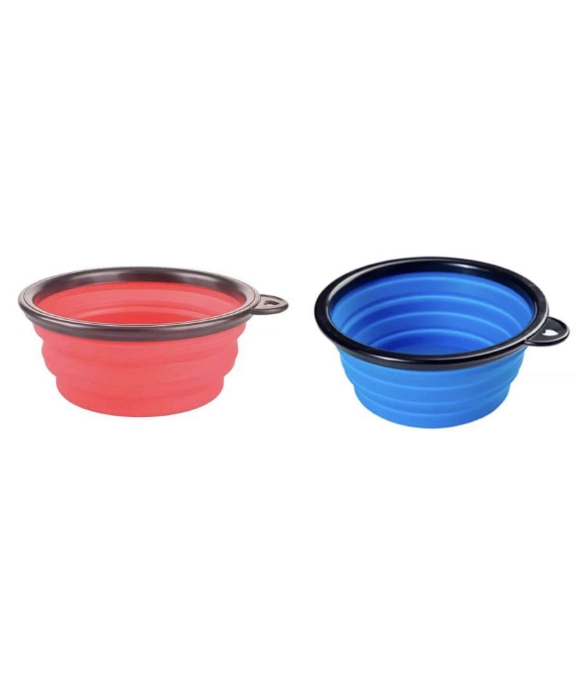 KUTKUT Travel Foldable Food and Water Bowl for Dogs and Cats- Set of 2