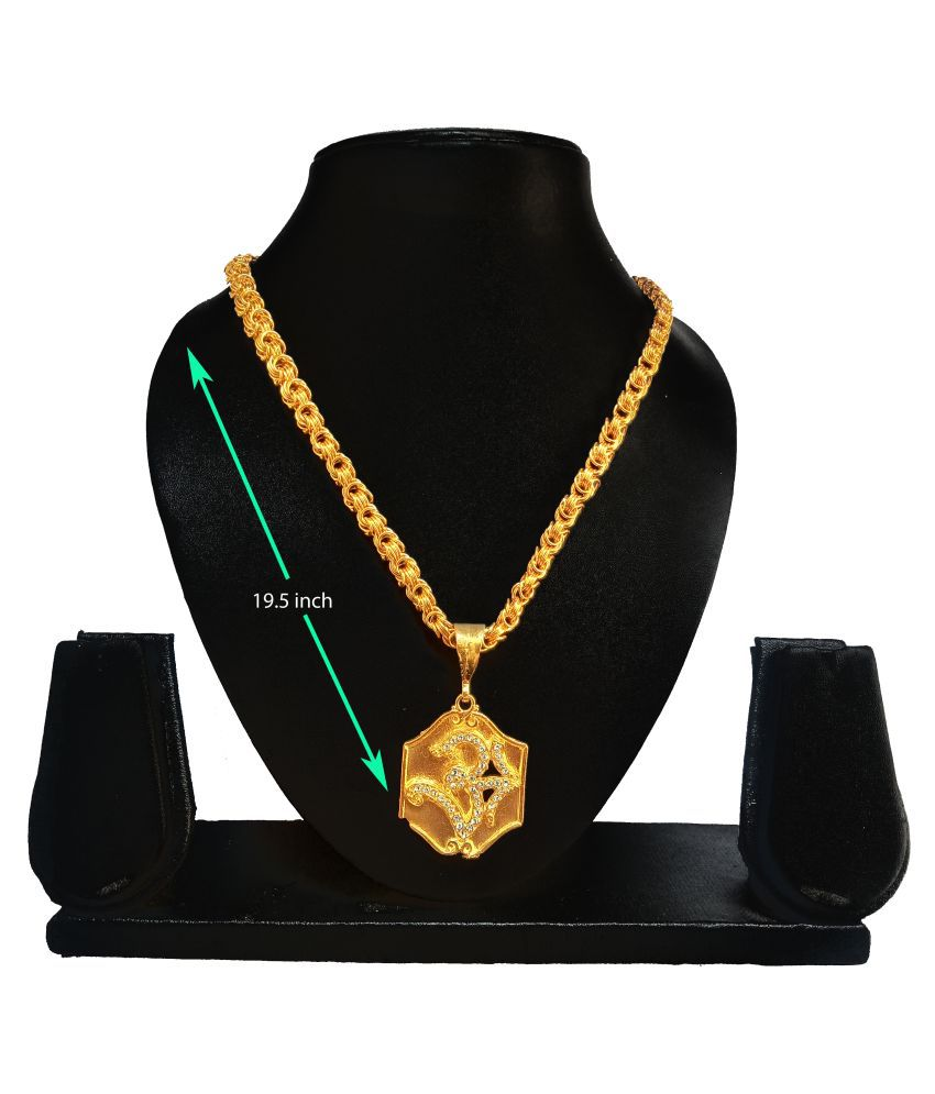 SHANKH-KRIVA GOLD PLATED PENDANT AND CHAIN FOR MEN OR BOYS-100376