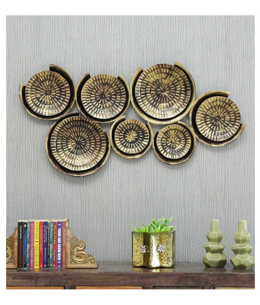 microtex Iron 7 Plates Metal Wall Designer Shape Decoratives Panel Brown - Pack of 1