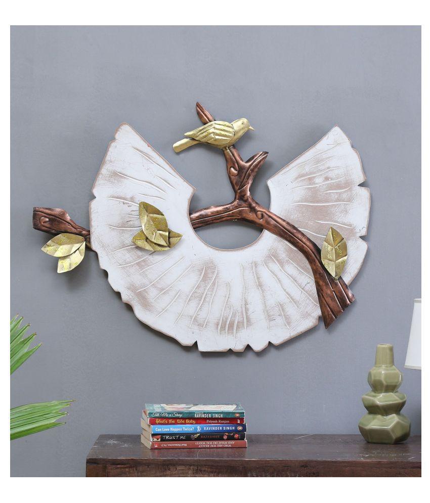 microtex Iron White Metal bird Designer Shape Decoratives Panel White - Pack of 1