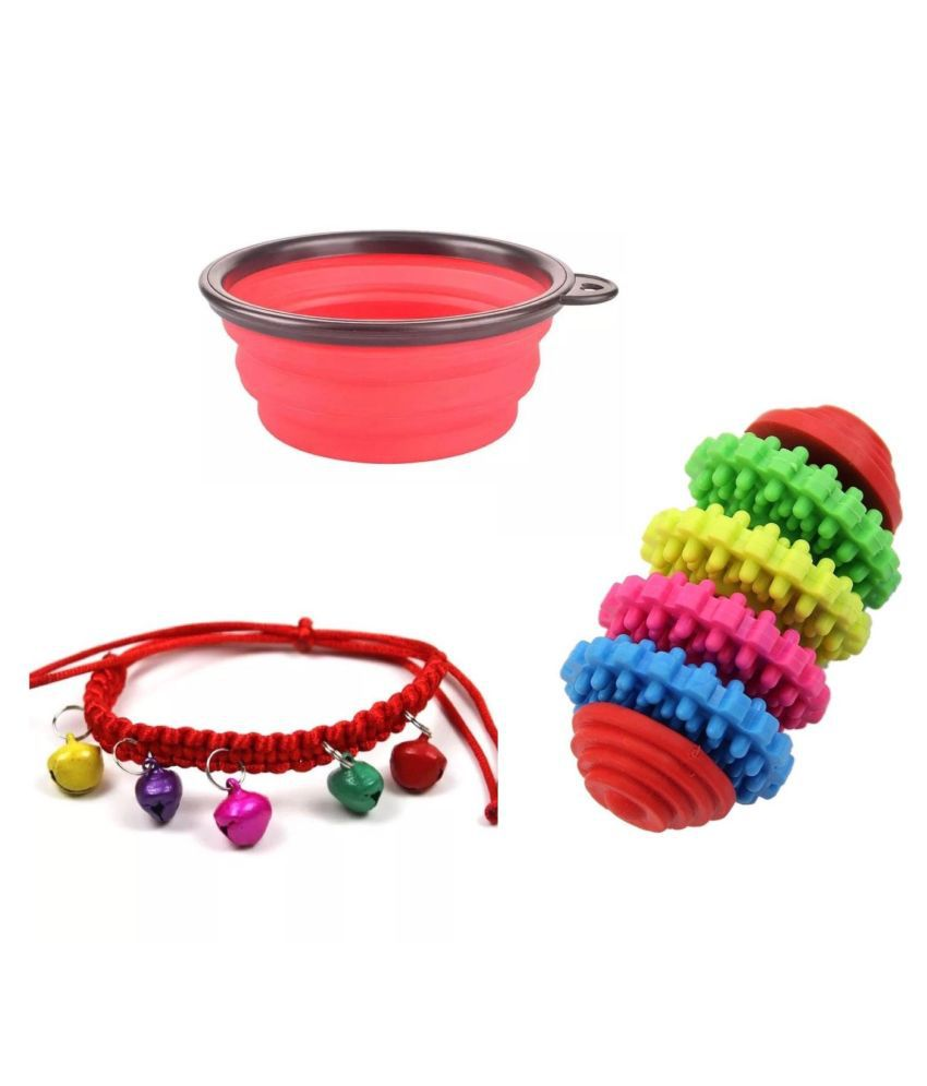 KUTKUT Combo of Foldable Food Bowl, Handmade Collar and Chew Toy for Dogs/Cats - Set of 3…