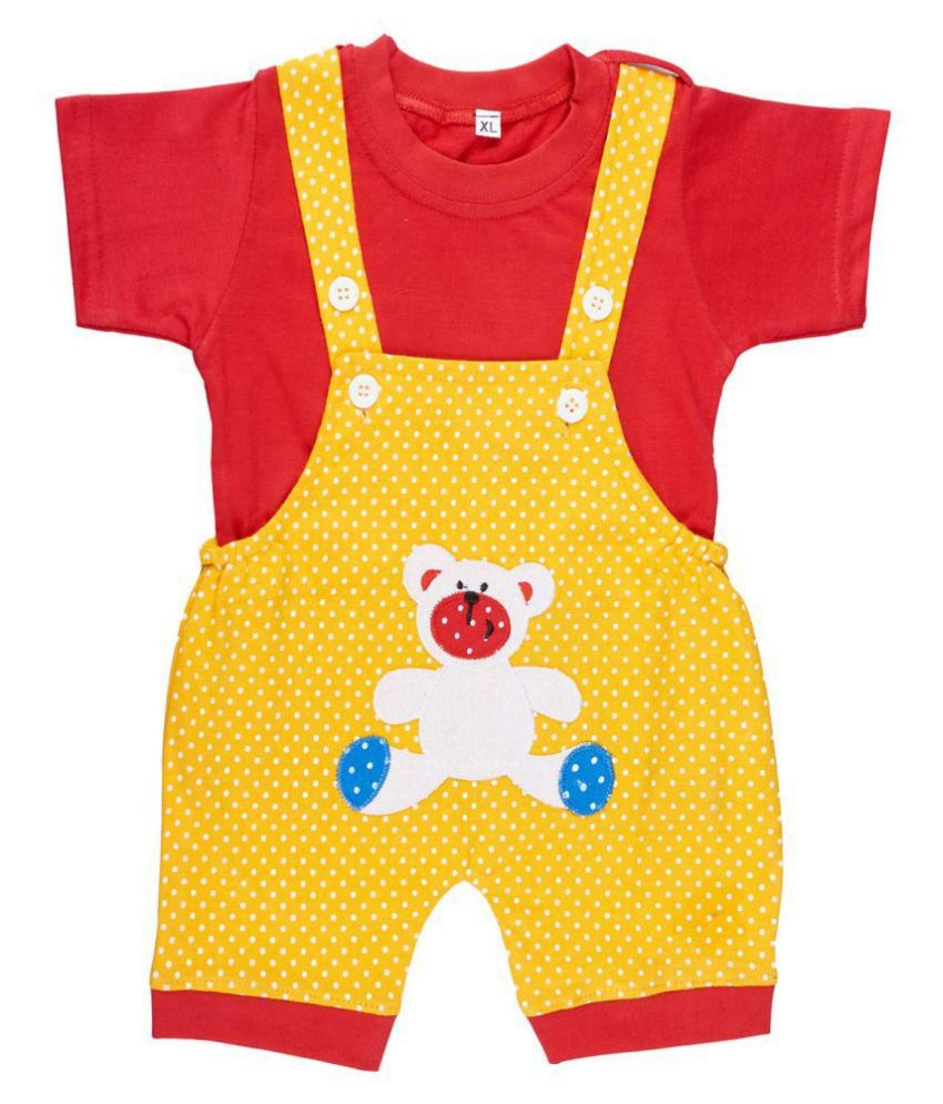 babeezworld Baby Boy's and Baby Girl's Printed Cotton Dungaree Romper (Multicolour; 0-3 Months) Pack of 1