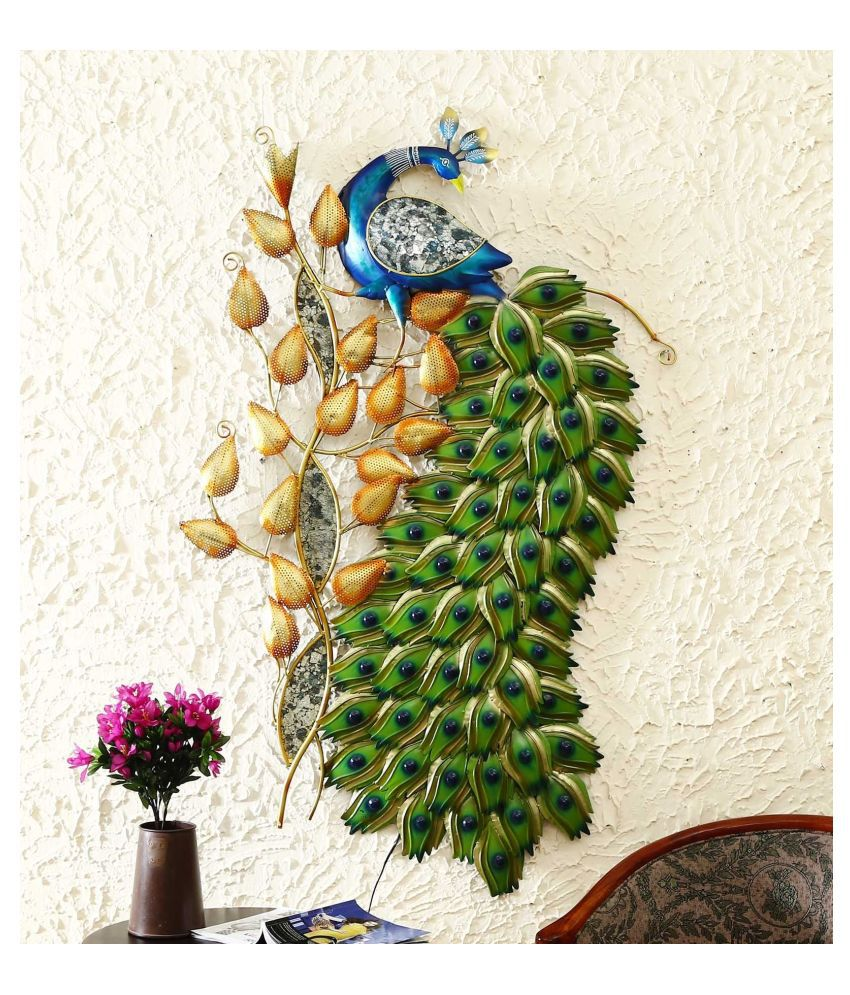 microtex Iron peacock beautifully Designer Shape Decoratives Panel Multi - Pack of 1