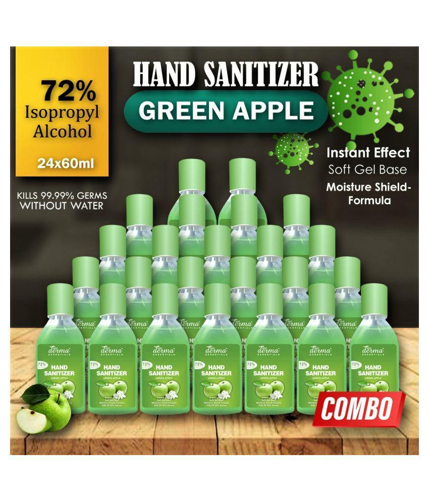 TRUE DERMA ESSENTIALS Green Apple, Instant dry 72% IPA, (Pack of 24) Hand Sanitizer 60 mL Pack of 1