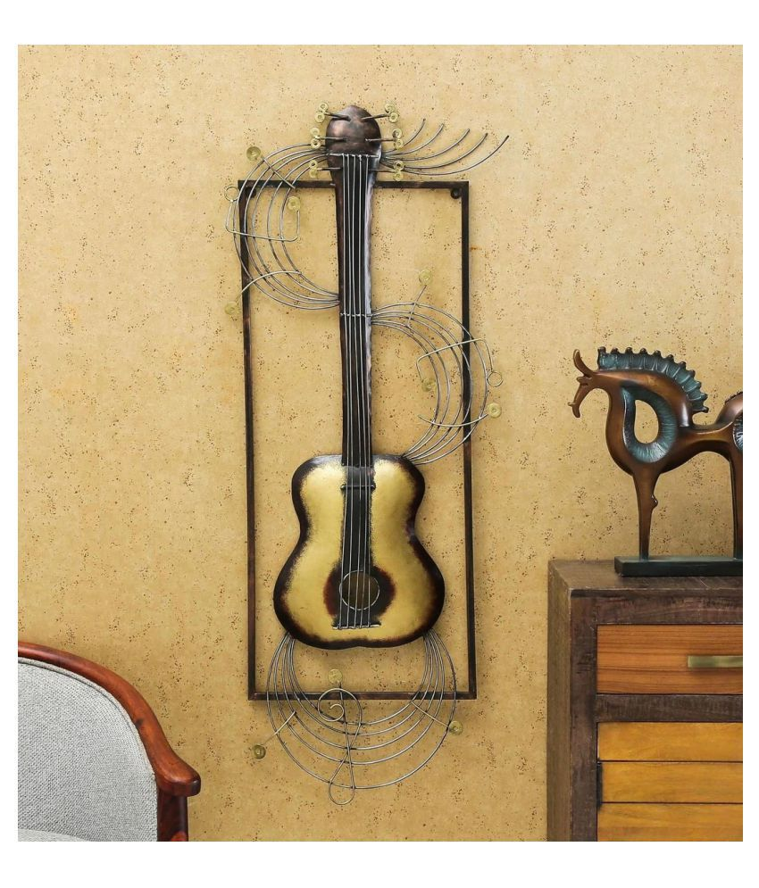 microtex Iron Hanging Guitar Designer Shape Decoratives Panel Gold - Pack of 1