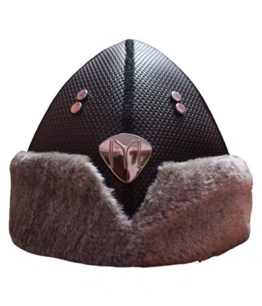 Ertugrul Ghazi Cap(Medium Size) Black Embroidered Fabric Caps