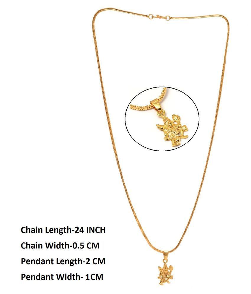 Jewar Mandi Pendant Hanuman Ji Locket Chain Gold Plated Rich Look Long Size Latest Designer Daily Use Jewelry for Men Women, Boys Girls, Unisex
