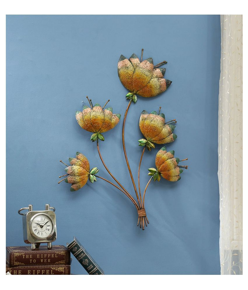 microtex Iron Big metal lotus Designer Shape Decoratives Panel Gold - Pack of 1