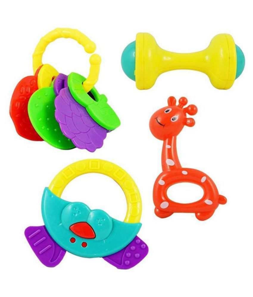 AJ@ Baby Rattle For Kids Set of 4 Pcs - Colorful Lovely Attractive Rattles For Babies, Toddlers, Infants & Children Educational Toy For Kids