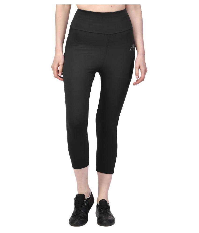 ACTIWIN Black Polyester Lycra Solid Capri