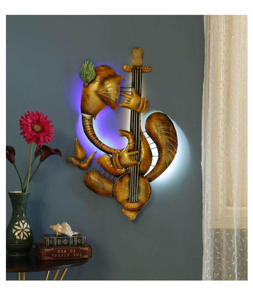 microtex Iron Ganesh ji Designer Shape Decoratives Panel Gold - Pack of 1