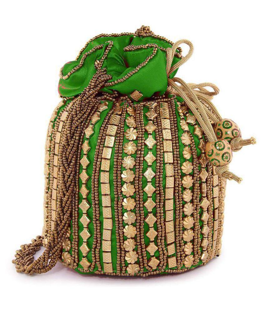Bulbul Green Silk Potli