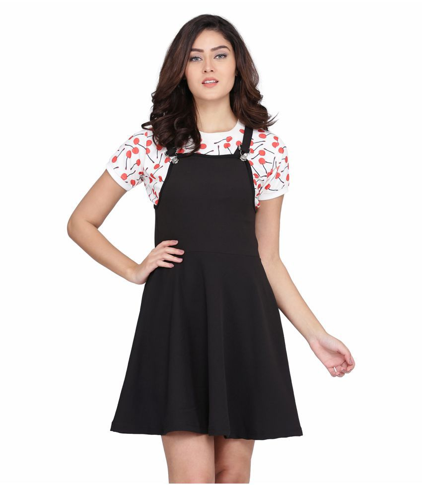 Clothzy Polyester Black Fit And Flare Dress