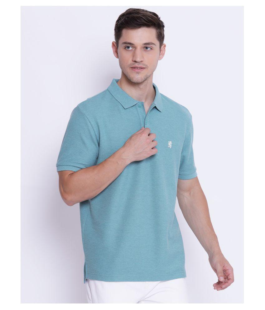 Red Tape Cotton Blend Green Plain Polo T Shirt