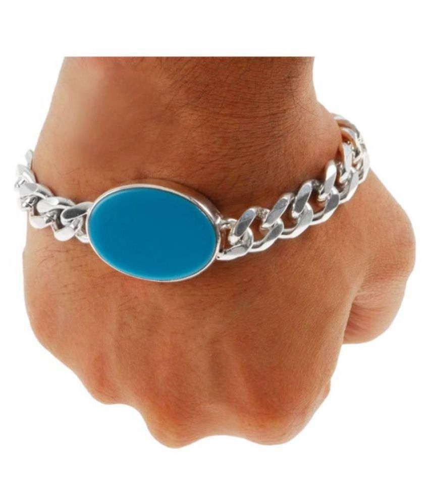 GRETHE Being Human Salman Khan Silver Plated and Turquoise Strand Bracelet for Men