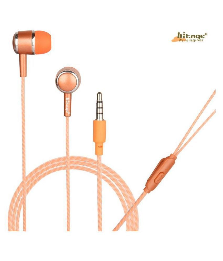 hitage Round earphone One Key Button Headset In Ear Wired With Mic Headphones/Earphones