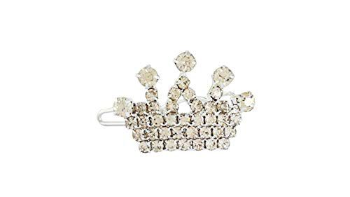 Emily Pets Dog Crystal with Rhinestone Iridescent Hair Clip Barrette Princess Tiara Crown for Dog/Pet hair clip topknot barrette - White