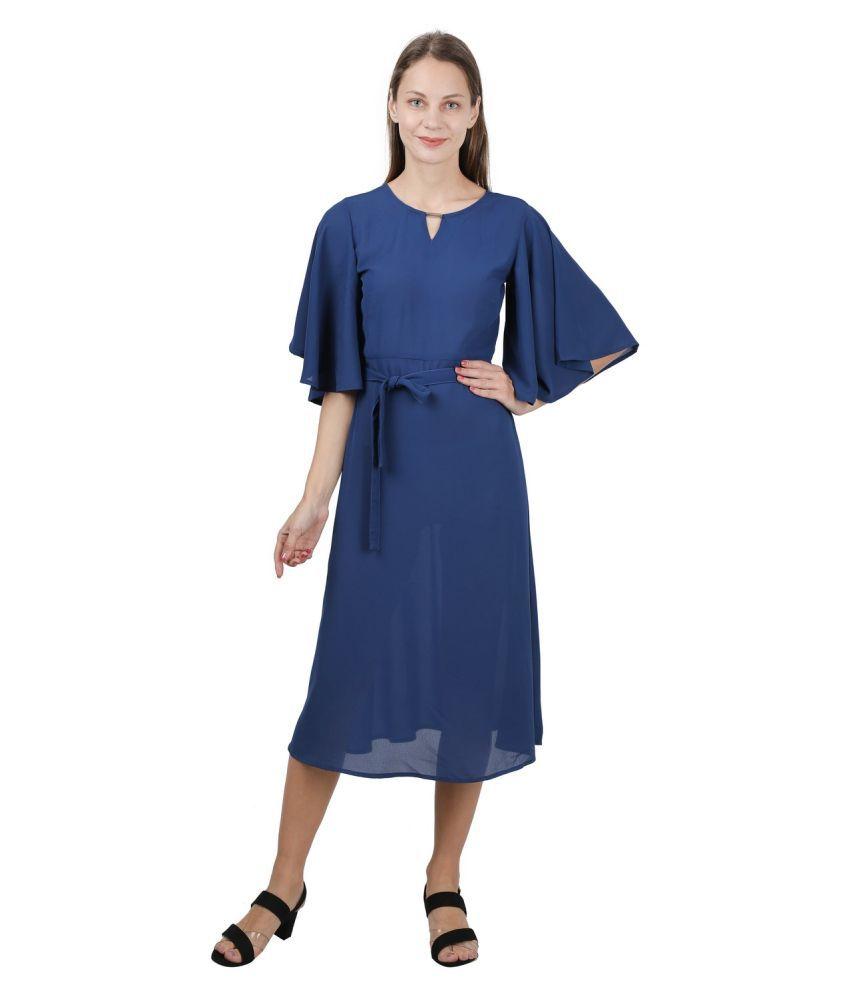 GALWIZ Poly Georgette Blue A- line Dress