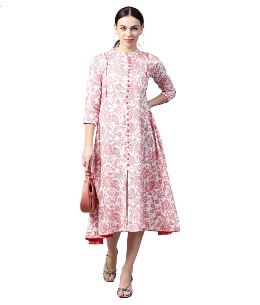 HIGHLIGHT FASHION EXPORT Viscose Pink Fit And Flare Dress