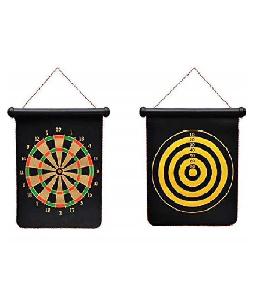 Tickles Double Sided Wall Hanging Roll-up Magnetic Dart Board with 6 Safety Darts Needles Set 17 inch