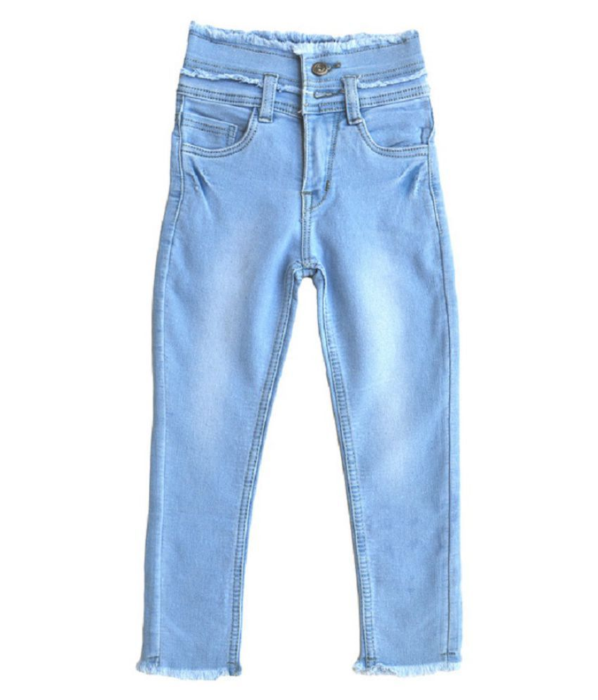 Toffee and Candy | Kidswear | Breathable and Stretchable | Top Bottom Rugged Ice Blue Comfortable Fit Jeans for Girls | Age Group - 3-13 Years