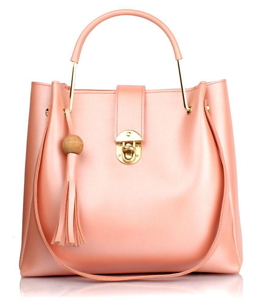 Raspberry PeachPuff P.U. Shoulder Bag