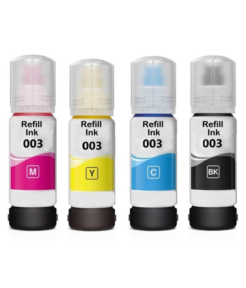 TEQBOT 003 L3100 Epson Multicolor Pack of 4 Ink bottle for Epson InkJet Printers
