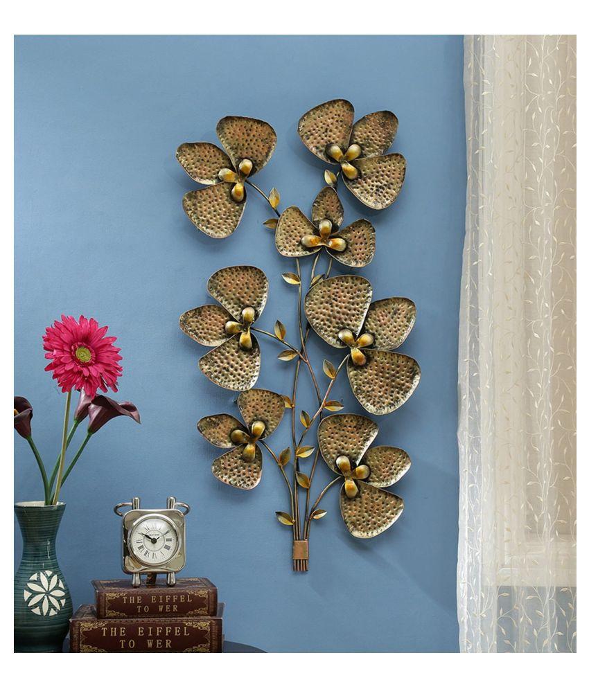 microtex Iron Metal Leaf Tree Designer Shape Decoratives Panel Gold - Pack of 1