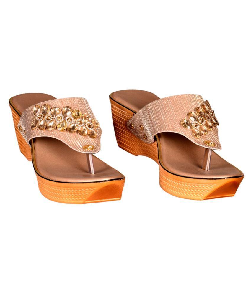 Footprints Gold Block Heels