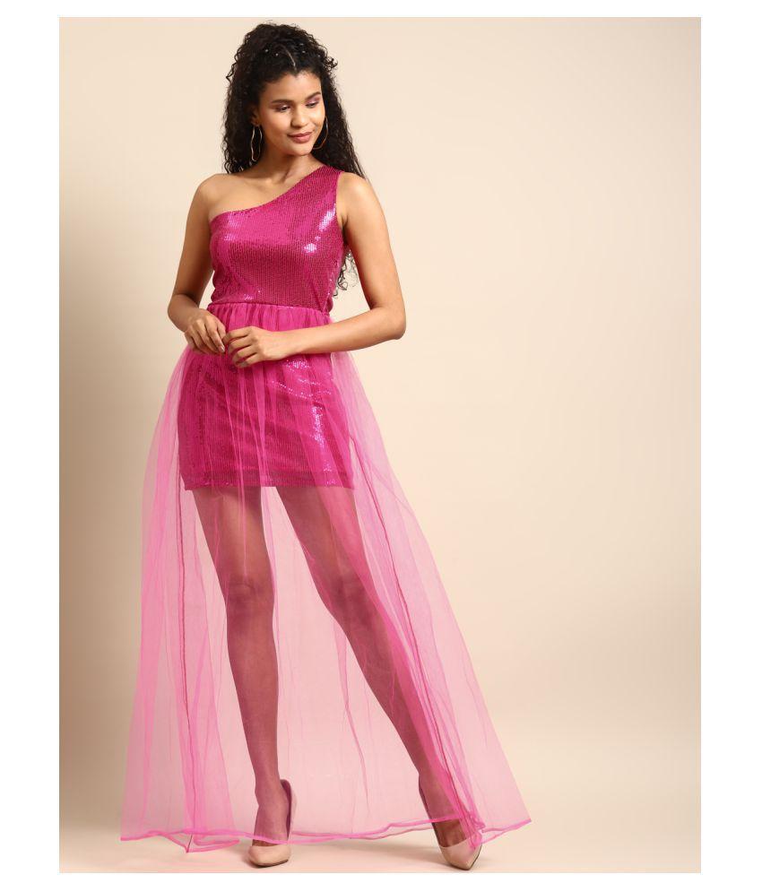 DODO & MOA Polyester Pink Skater Dress