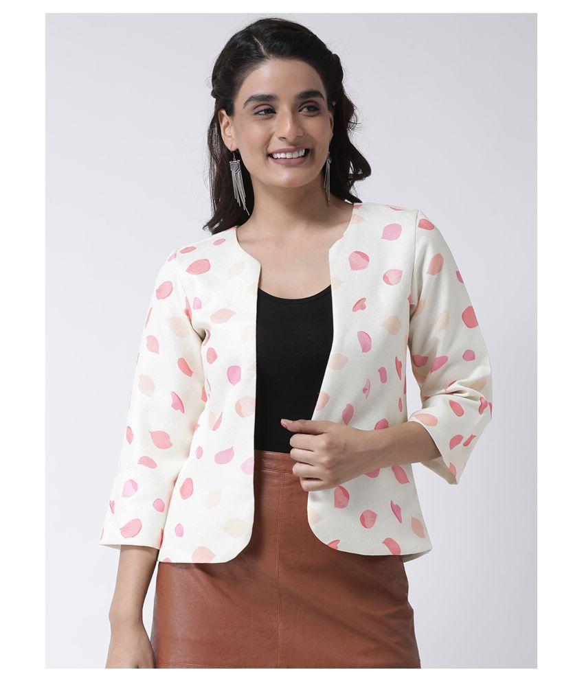 Hangup Polyester Blend Off White Ethnic Jacket