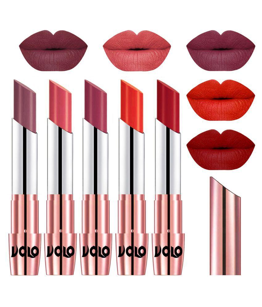 VOLO 5 Pcs Long Stay Lipstick Set Creamy Matte Multi Pack of 5 17.5 g