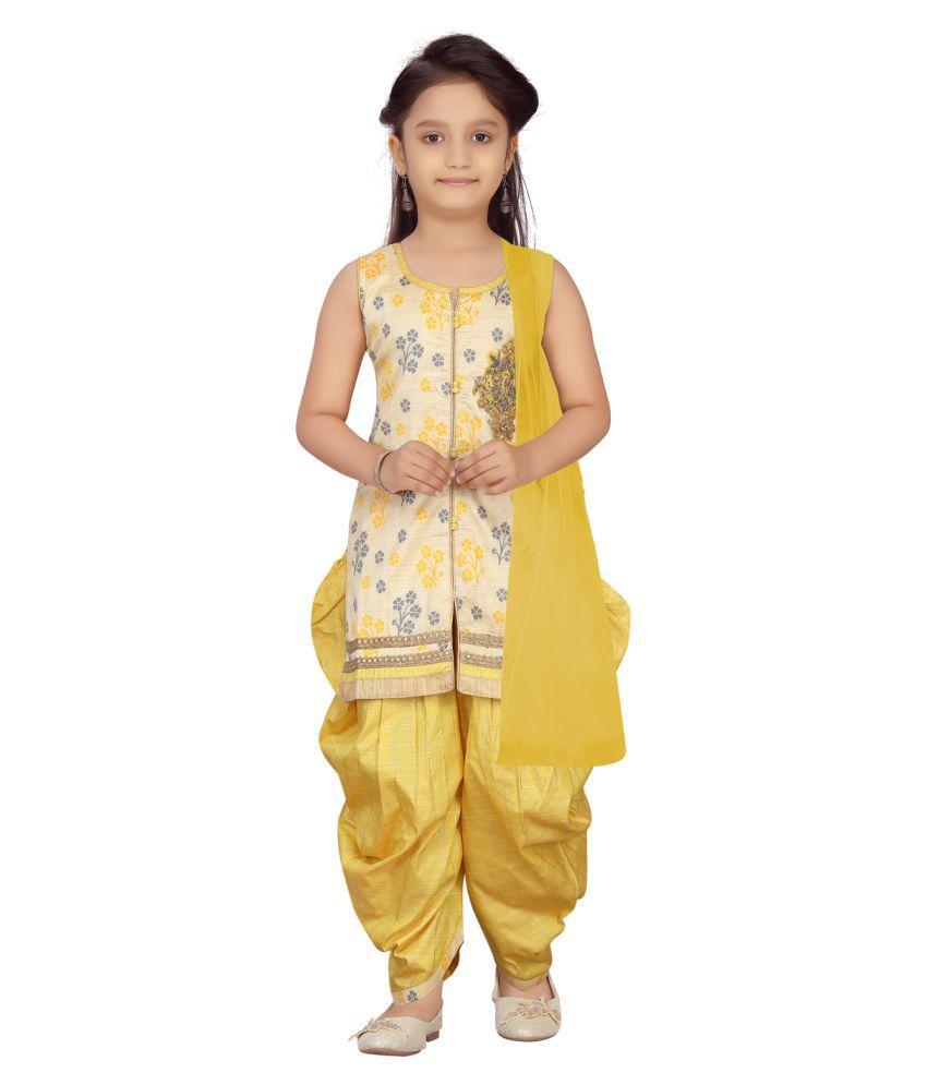 Aarika Girls Fawn Colour Patiala Suit Set