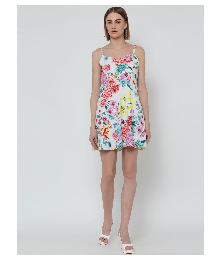 DODO & MOA Rayon White A- line Dress