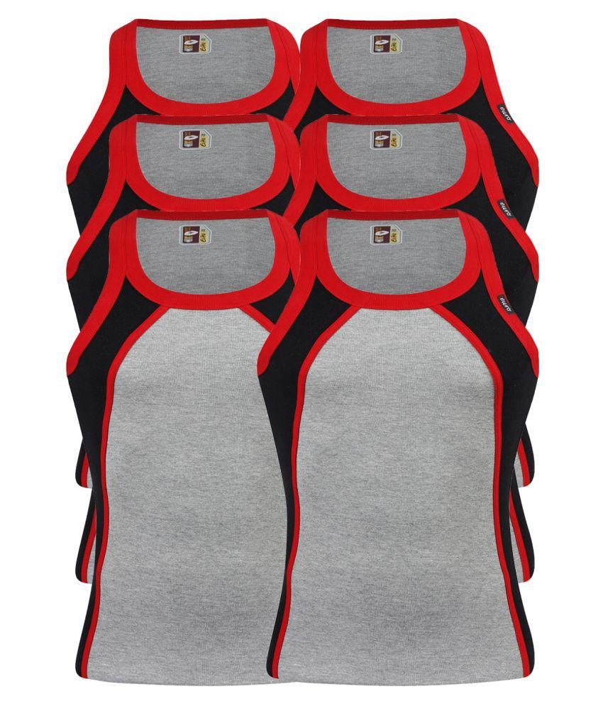 Euro Black Sleeveless Vests Pack of 6