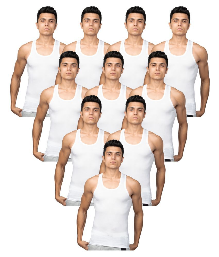 Euro White Sleeveless Vests Pack of 10