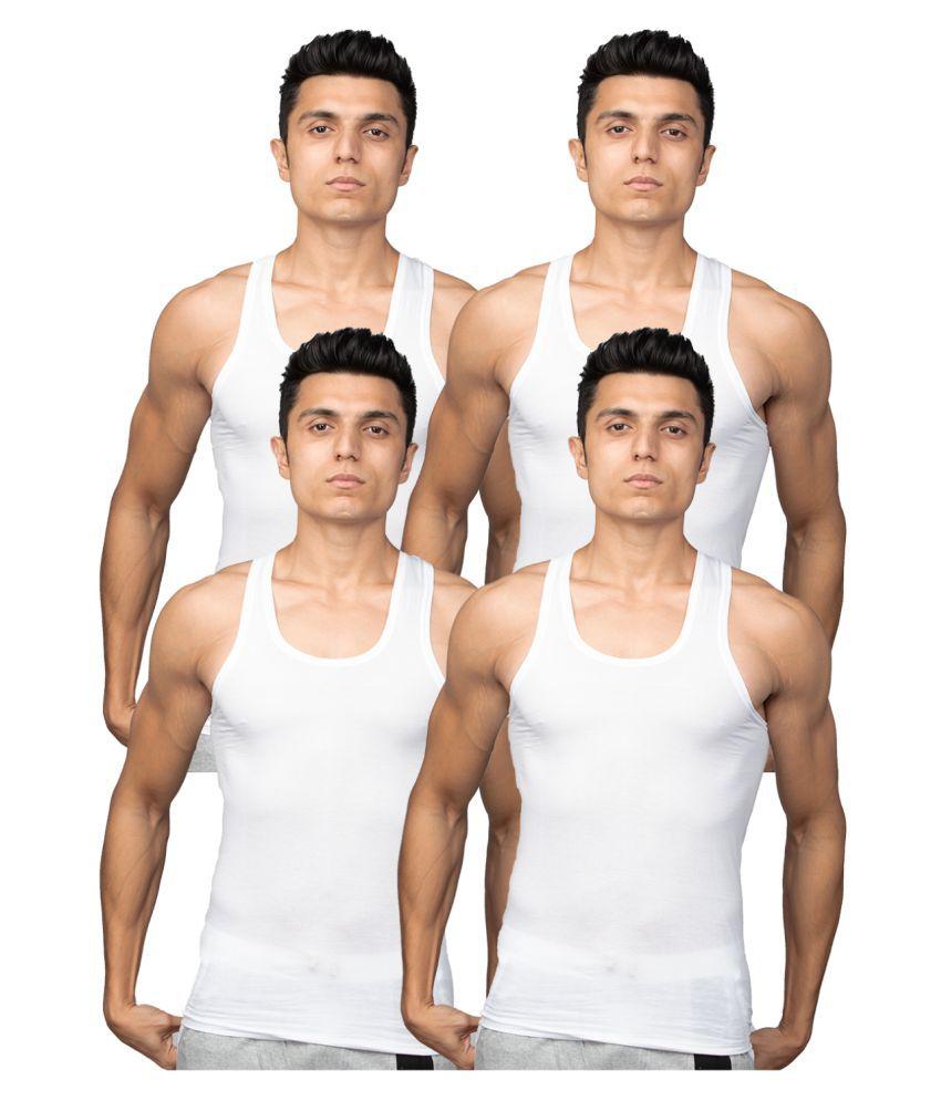 Euro White Sleeveless Vests Pack of 4