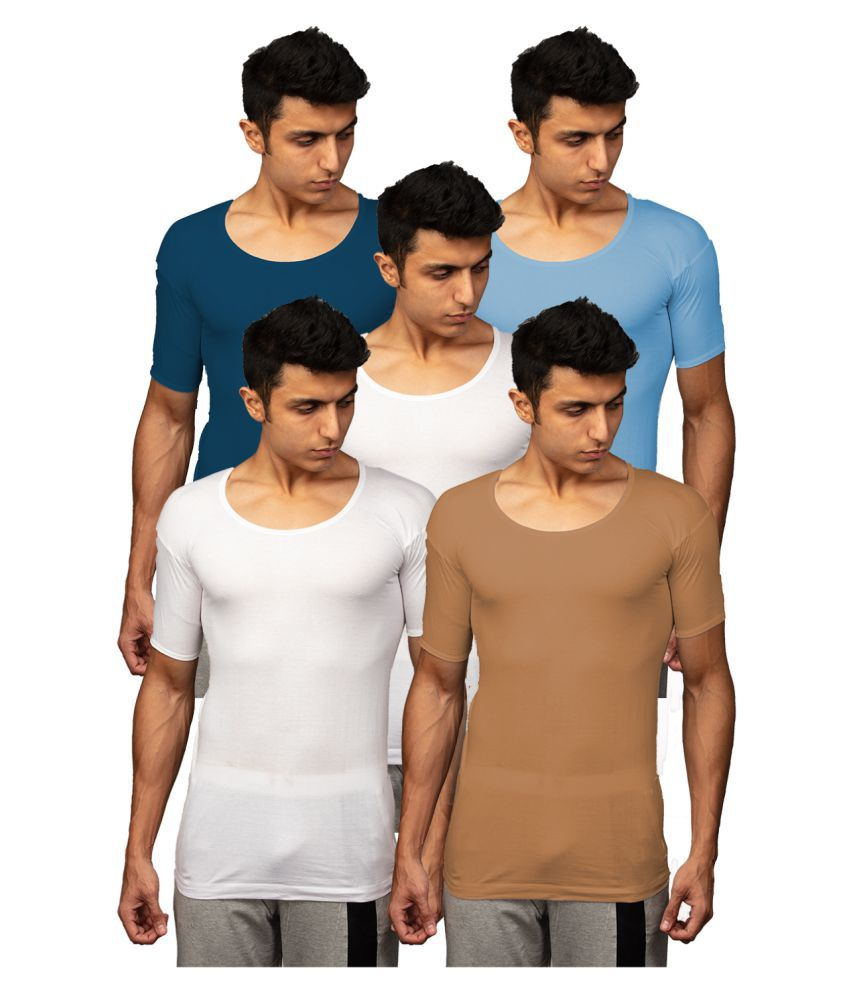 Rupa Multi Half Sleeve Vests Pack of 5