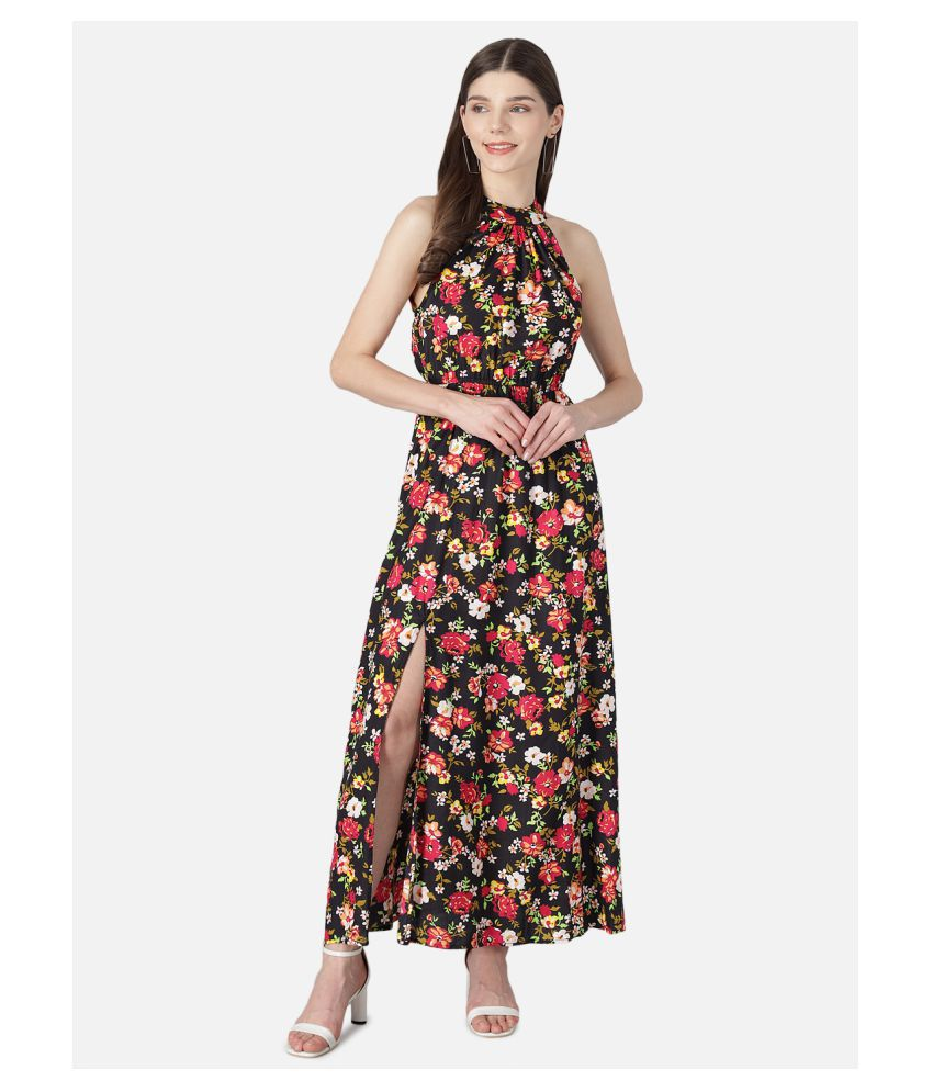 The Dry State Rayon Black Fit And Flare Dress