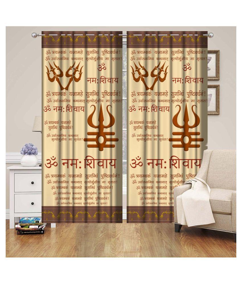 Vikas Trading Set of 2 Door Semi-Transparent Eyelet Polyester Curtains Multi Color