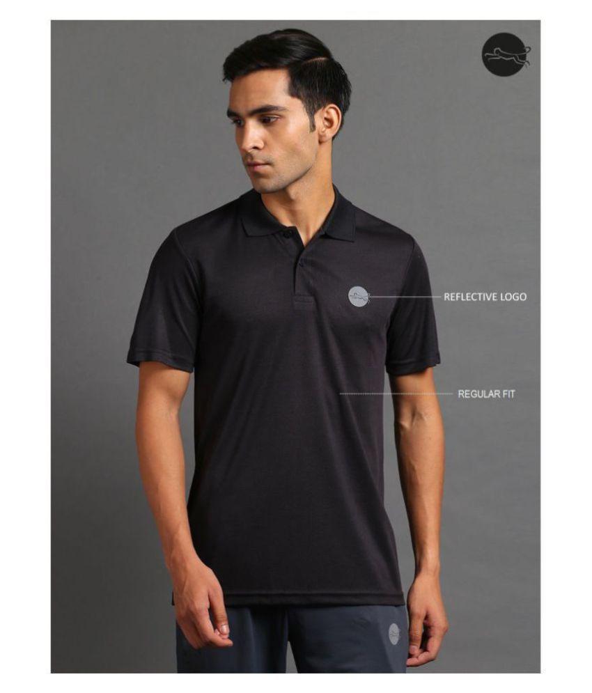 FITMonkey Black Polyester Polo T-Shirt