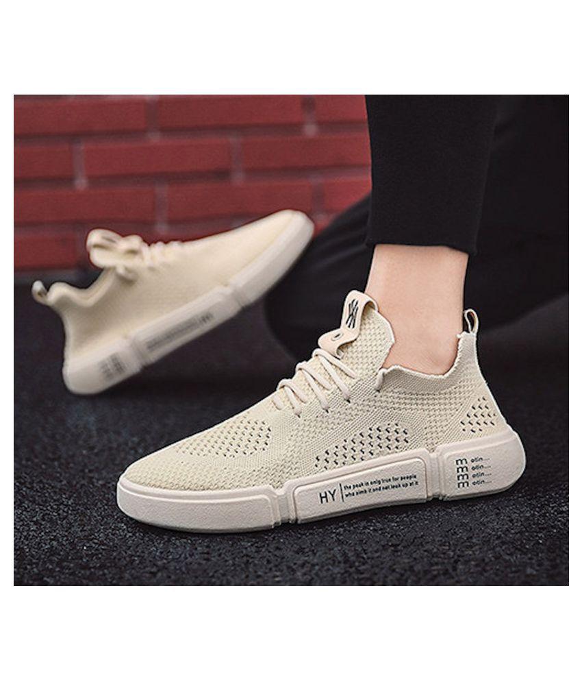 Nifandi A123 TRENDY Beige Running Shoes