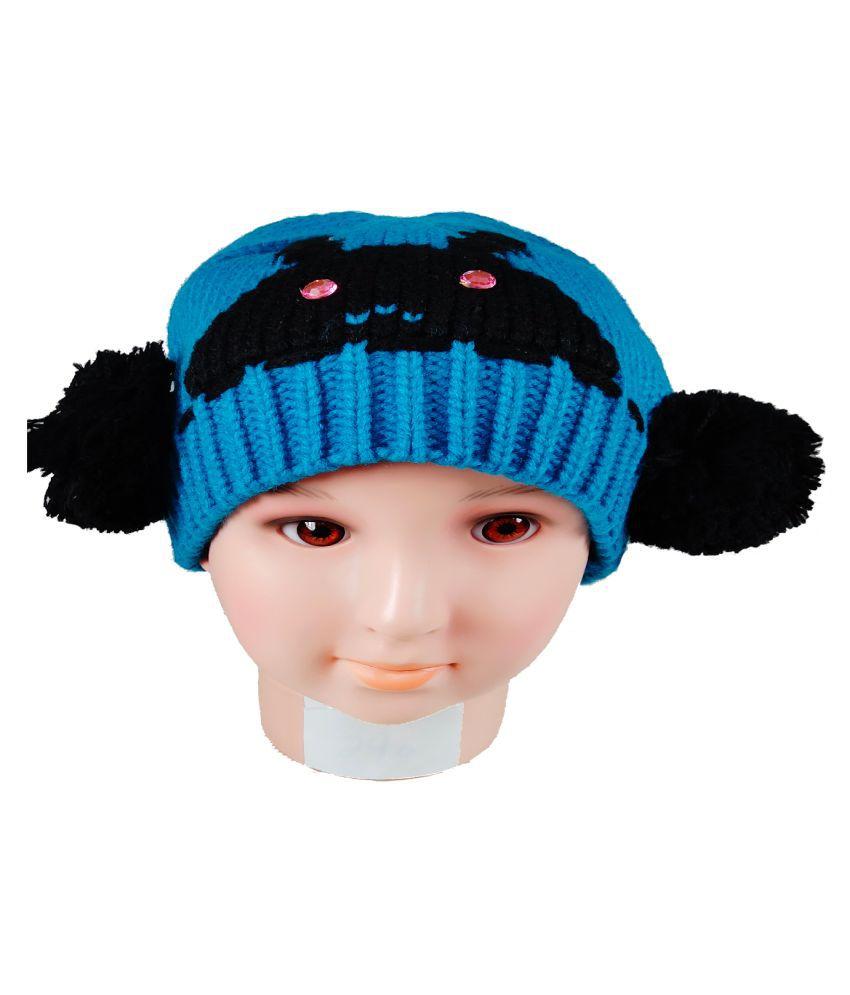 Warmzone Kids Beanie Cap Black and Blue Solid Design  (0129C)