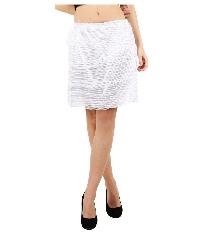 D Naked Polyester A-Line Skirt - White