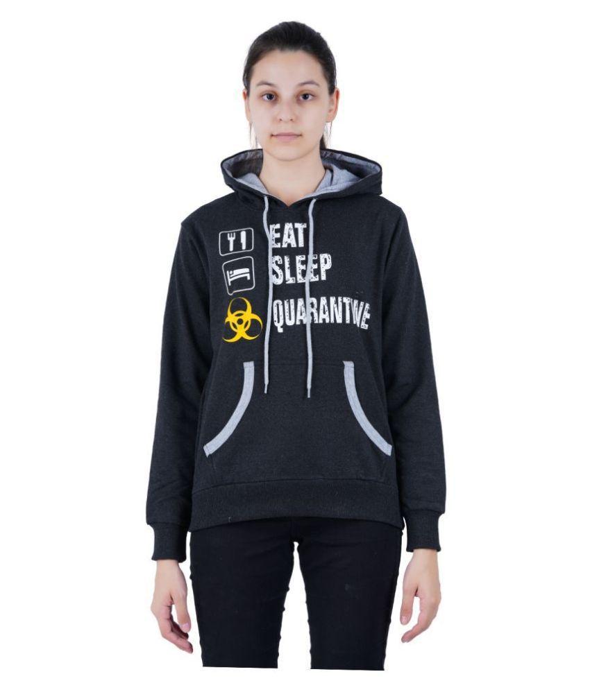 Zebu Cotton - Fleece Black Hooded Sweatshirt