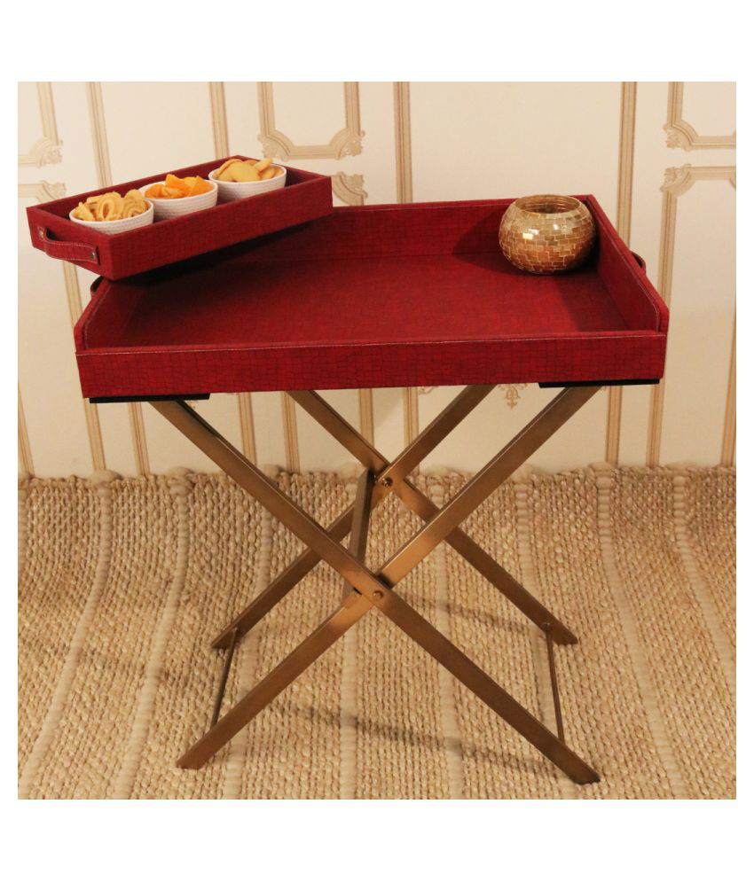 CasaGold: Foldable Leather Tray Table with Metal Stand & Free Small Serving Tray- Cherry Red