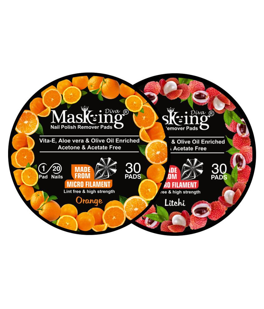 Masking Diva Orange & Litchi Nail Paint Remover Pads 40 mL Pack of 2
