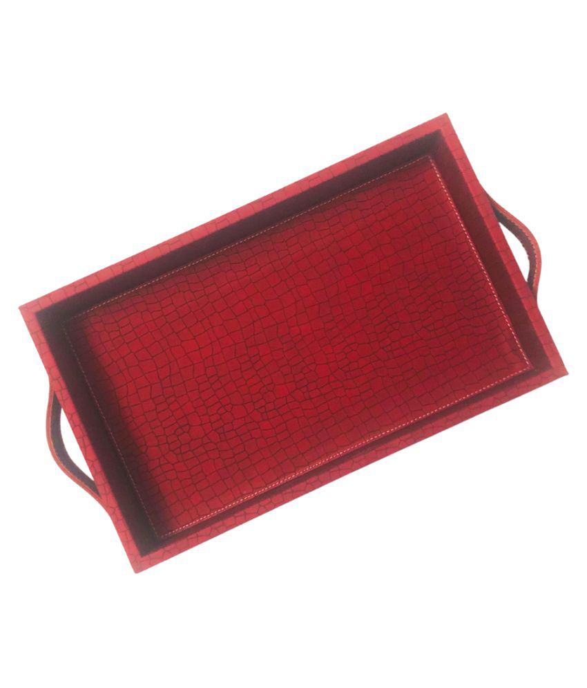 CasaGold: Premium Leather Serving Tray with Handles (Cherry Red)